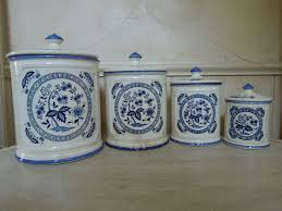 vintage porcelain canister set made in japan blue and white