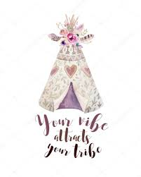 handdrawn watercolor tribal teepee isolated white with quote