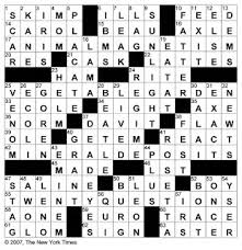 Drapery Material Crossword The New York Times Crossword In Gothic May 2007