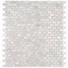splashback tile of pearl mini brick pattern 11 1 4 in x 12