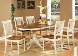 White Painted Oak Furniture Brown Varnished Walnut Wood Oval Dining Table Top With White