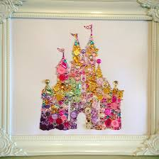 belle siloute with buttons wall art disney princess baby handmade disney castle swarovski crystal button frame easy order see board description