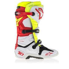 motocross gear boots bottes motocross alpinestars tech 10 blanc rouge jaune fluo