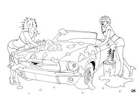 coloring page instant download girls washing ford mustang