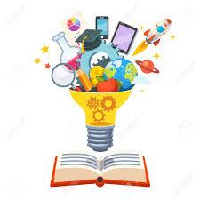 big book light bulb with gears inside floating big book bursting
