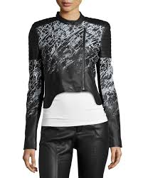 womens leather motorcycle jacket bcbgmaxazria printed cropped faux leather motorcycle jacket in