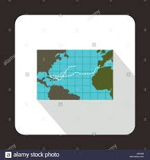 Map Of Columbus Voyage Christopher Columbus Voyage Map Icon Flat Style Stock Vector Art
