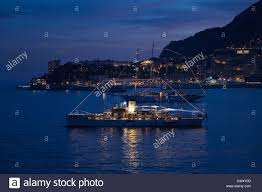 Monte Carlo Lights Yacht And Seaside Night View Monte Carlo With Lights Dusk In Stock
