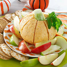 appetizer halloween pumpkin shaped cheese ball recipe taste of home