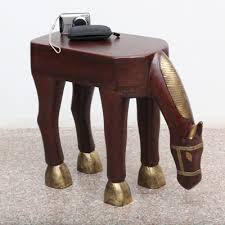 small furniture horse shaped brown and gold wood side table ornate indian furniture