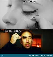 Eyeliner Meme - putting on eyeliner by kagakirai meme center