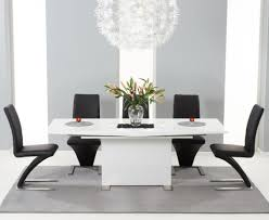 Z Dining Chairs modena 150cm white high gloss extending dining table with