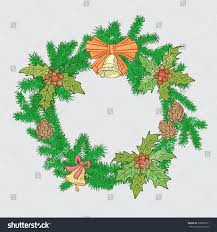 christmas festive wreath branches christmas trees stock vector