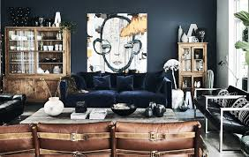 ideas ikea a living room with blue velvet sofa and dark walls