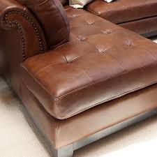 Leather Sectional With Chaise And Ottoman Corsario Leather Sectional With Left Facing Chaise And Ottoman