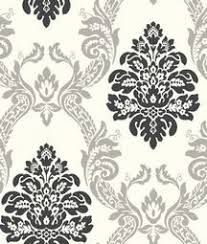 black and silver damask wallpaper from black and white bathrooms