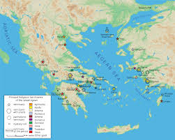 Ancient Greece On A World Map by Map Of Classical Greek Sanctuaries Illustration Ancient