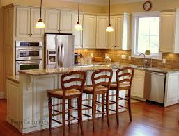 White Traditional Kitchen Design Ideas by White Seats Clear Glass Pendant Lamps Wooden Stools Rustic