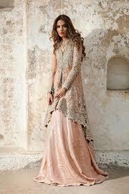 designer bridal dresses peachy pink back trail shirt sharara