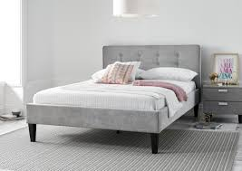 Grey Bed Frame Sorrento Upholstered Bed Frame Steel Grey Leather Beds Beds