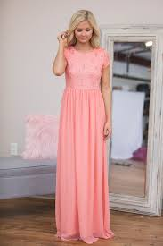 coral lace chiffon long modest bridesmaid dresses with cap sleeves