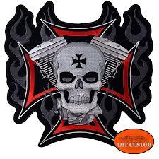 biker jacket vest maltese cross skull v twin patch biker jacket vest amt custom shop