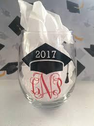 graduation wine glasses monogrammed graduation wine glass 2017 graduation wine glass