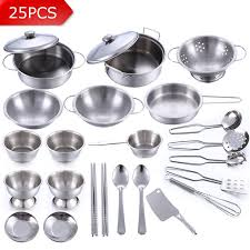 vaisselle de cuisine 25 pcs en acier inoxydable enfants cuisine jouets miniature cuisson