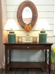 delectable farmhouse console table vignette foyer entry idea