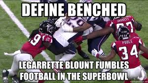 Fumble Meme - define benched legarrette blount fumbles football in the superbowl