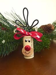 set of 4 wine cork reindeer ornaments rudolph ornaments recycled