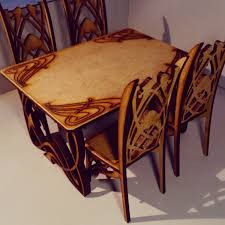 art nouveau dining table with 4 chairs natural mdf wood