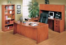boss 36 u2033 x 71 u2033 bow front u shaped laminate desk with bookcase