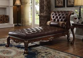 Tufted Leather Chaise Acme 96487 Dresden Cherry Oak Leather Chaise With Pillow