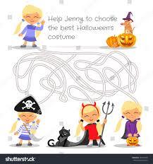 halloween maze game kids education help stock vector 309122348