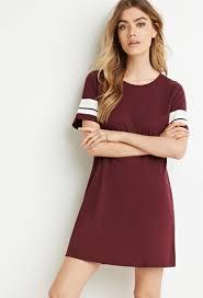 forever 21 varsity striped t shirt dress in purple lyst