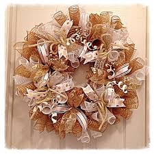 white deco mesh gold and white deco mesh wreath white by ckdazzlingdesign