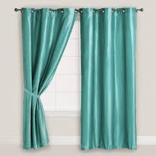 white polished steel frame glass window using turquoise curtain