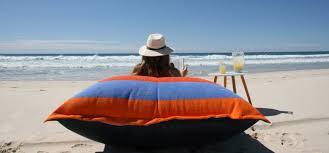 large outdoor sandusa beach towel bean bag cushion and pillows