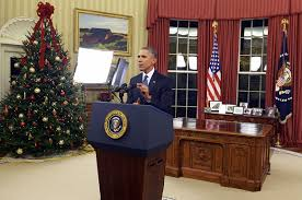 Behind Presidential Curtains President Obama Behind A Podium In The Oval Office 12 6 15 Very