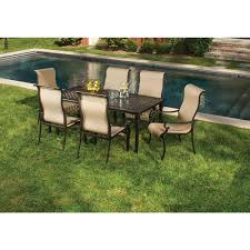 hanover 7 piece outdoor dining set with rectangular cast table and