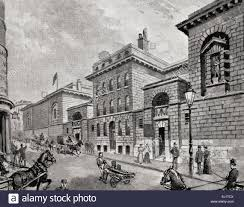engraving of street scene outside newgate prison in victorian era