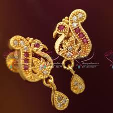 peacock design earrings in gold er3379 peacock design ruby white stones screwback south earrings