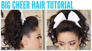 hair with poof on top big cheer hair tutorial perfect poof and curly ponytail youtube