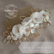 wedding hair combs gold hair comb hairpiece ivory white wedding bridal hair