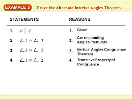 Example Of Alternate Interior Angles Example 3 Prove The Alternate Interior Angles Theorem Ppt Download