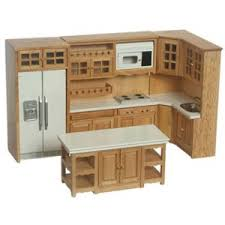 dollhouse furniture kitchen modern oak cabinet set 6 pc miniature dollhouse kitchen