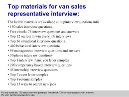 van sales representative interview questions and answers