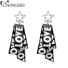 engraved ribbon 2017 new black geometric earrings european and american style