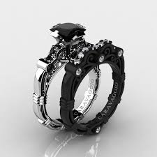 black engagement rings images Art masters caravaggio 14k black and white gold 1 25 ct princess jpg